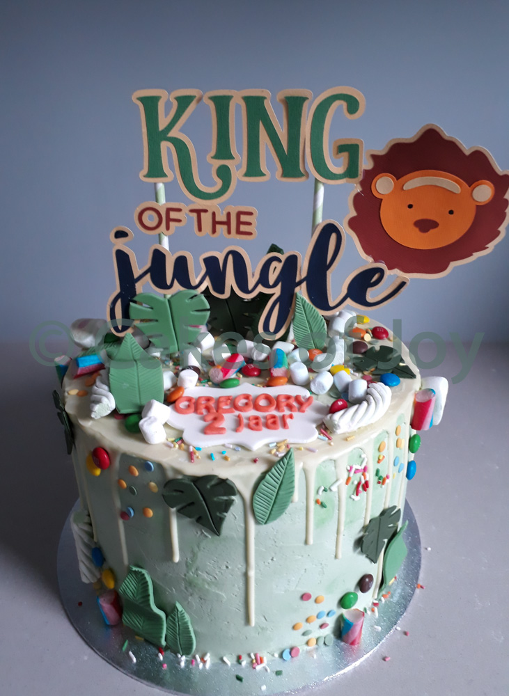 Jungle taart jungle thema leeuw taarttopper